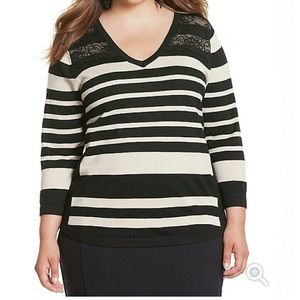 Black and Tan Striped Sweater with Lace Detail